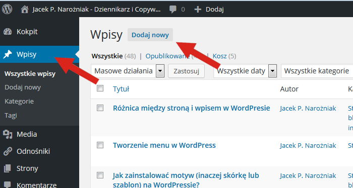 Jak dodać wpis wWordPressie?