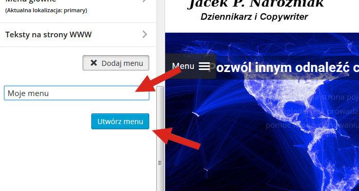 Tworzenie menu wWordpress
