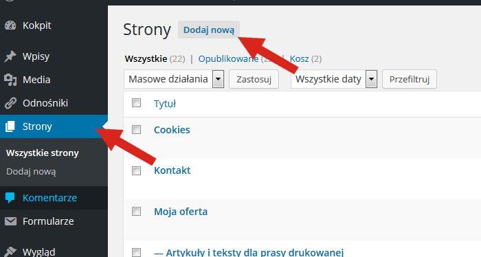 Jak dodać stronę wWordPressie?